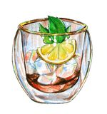 Ice tea with mint branch and lemon, watercolor illustration royalty free illustration