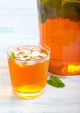 Ice tea with mint in the glass Stock Photo