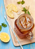 Ice tea with mint and lemon Stock Photos