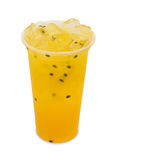 Ice tea passion fruit in takeaway glass isolated on white. Background with clipping path Royalty Free Stock Photography