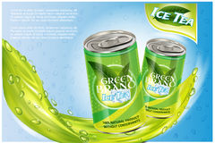 Ice tea products ad. Vector 3d illustration. Soft drink aluminium can template design. Green tea bottle advertisement Stock Images