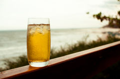 Ice tea with sea view Royalty Free Stock Photos