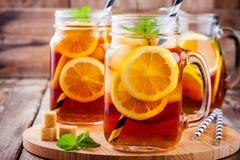 Ice tea with slice of lemon in mason jar Stock Image
