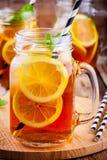 Ice tea with slice of lemon in mason jar Stock Images