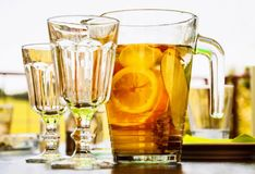Ice tea with sliced orange Royalty Free Stock Images