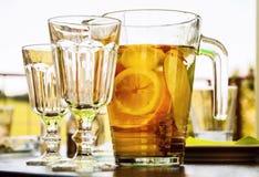 Ice tea with sliced orange Royalty Free Stock Photo