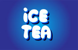Ice tea text 3d blue white concept vector design logo icon Royalty Free Stock Photo