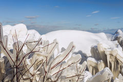Ice Tendrils. Ice and snow by Lake Ontario in Toronto Stock Photos