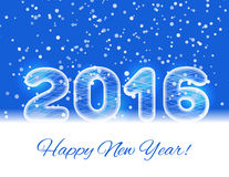 2016 ice text on a blue background with a falling snow. 2016 New year card. Stock Photos