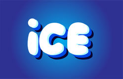 Ice text 3d blue white concept vector design logo icon Stock Photo