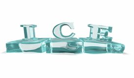 Ice text on 3D melting ice cubes. Stock Image