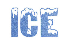 Ice Text Sign Illustration Design Over White Stock Photography