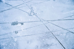 Ice texture on outdoor rink Stock Photo
