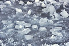 Ice texture. snow winter background. Pieces of ice on ice stock photos