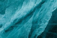 Ice texture under frozen surface of Baikal lake,Siberia,Russia Stock Photos