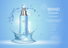 Ice toner ads with blue water splash. Spray bottle and fresh sparkling drops, realistic 3d. Vector illustration, cosmetics product Royalty Free Stock Images