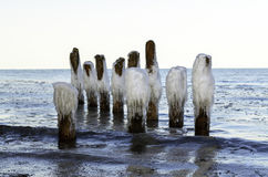 Ice tops of old wooden pier Royalty Free Stock Photos