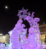 Ice town with sculptures in Yekaterinburg city, 2016. Ice town with sculptures and New Year tree in the centre of Yekaterinburg city, Russia, 2016 Royalty Free Stock Images