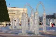 Ice town at sunny day Stock Photo