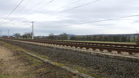ICE train railroad track. Panning shot of ICE train railroad track stock video footage