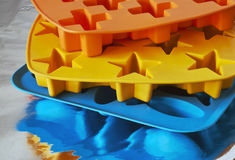 Ice trays. In different colours Stock Photo