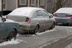 Ice on  trees and cars Royalty Free Stock Images
