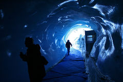 Ice tunnel. Tunnel into the mer de glace glacier in the french alps royalty free stock photography