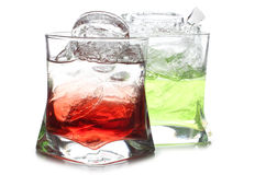 Ice in two color beakers Royalty Free Stock Photo