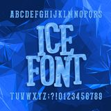 Ice typeface. Alphabet font. Letters and numbers. Abstract blue background. Stock vector hand drawn typeset for your headers or any typography design Stock Images