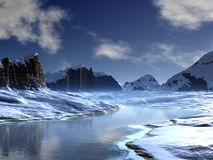 Ice Valley River. Winter landscape of snow-covered mountains with frozen river in the valley bottom royalty free stock images