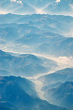 Ice vally background. Aerial blur shot from the Alps early morning stock photo