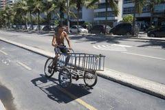 Ice Vendor Delivery Rio de Janeiro Brazil Stock Images