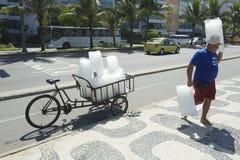 Ice Vendor Delivery Rio de Janeiro Brazil Stock Image