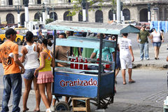 Ice vendor on streets of Havana Stock Photo