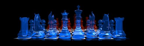 Ice Versus Fire. 3d illustration of a Chess game of ice versus fire on a black background Stock Images