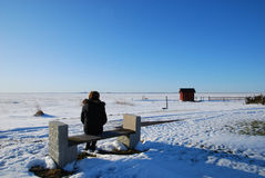 Ice view. Woman sitting on a bench watching ice and a cottage in a nordic winter landscape Royalty Free Stock Photo