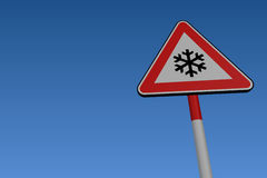 Ice warning road sign Stock Photos