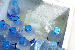 Ice water bottles Stock Photo