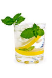 Ice water, lemon and mint Stock Photo