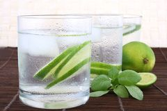 Ice water with lime Royalty Free Stock Photography
