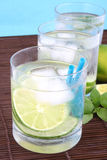 Ice water with lime Stock Images