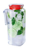 Ice water, lime, mint, pitcher Royalty Free Stock Photography