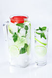 Ice water, lime, mint, pitcher Stock Images
