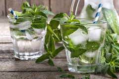 Ice water with mint Royalty Free Stock Image