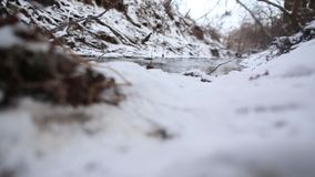 Ice water running in a fast spring stream. Snow melting on steep creek banks. Running streams of clean ice water. Spring has come. Snow melting on steep river stock video