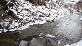 Ice water running in a fast spring stream. Snow melting on steep creek banks. Running streams of clean ice water. Spring has come. Snow melting on steep river stock footage