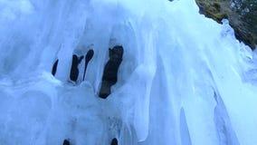 Ice water on Transfagarasan road stock video footage
