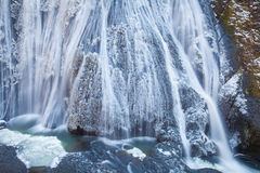 Ice waterfall in winter season Royalty Free Stock Photos