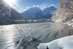 Ice waves at austrian lake Royalty Free Stock Images