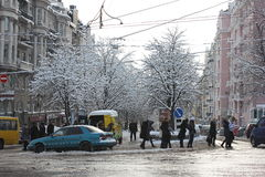 Ice and wet snow on city roads Stock Images